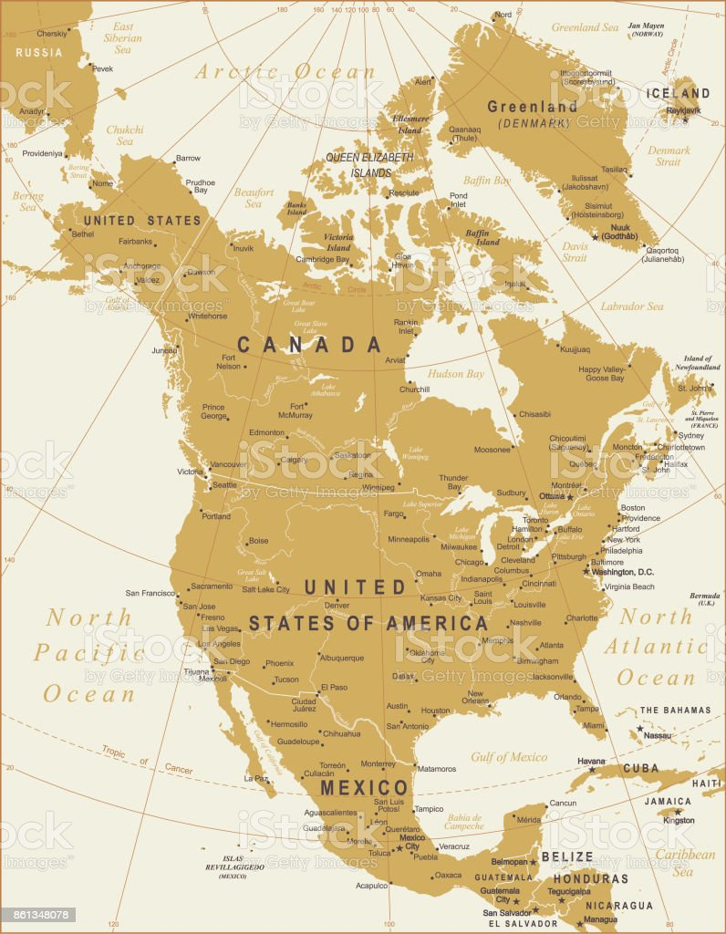 State Map Of North America.Vector Map Of North America Stock Vector Art More Images Of