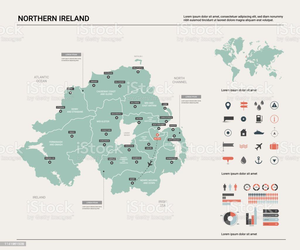 Map Of Uk And Ireland With Cities.Vector Map Of Northern Ireland High Detailed Country Map With