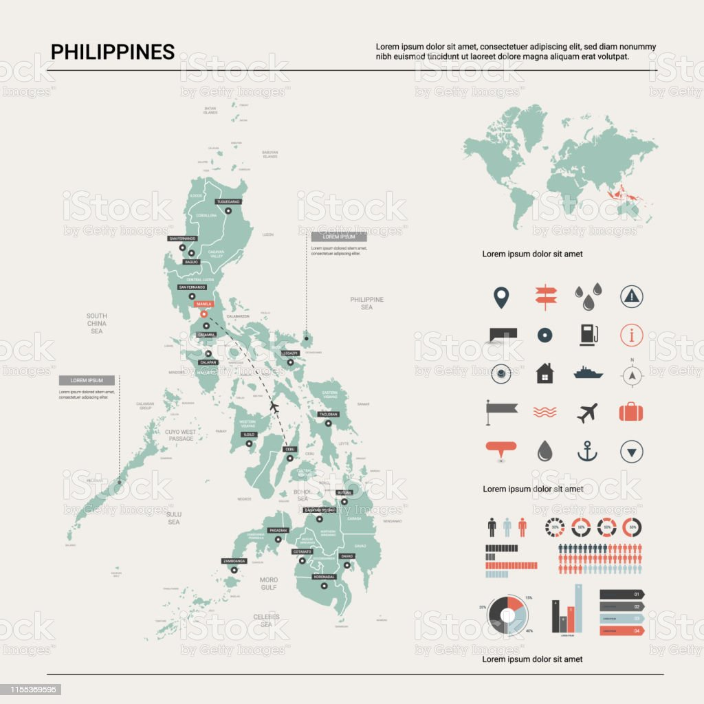 Vector Map Of Philippines Country Map With Division Cities And Capital Manila Political Map World Map Infographic Elements Stock Illustration Download Image Now Istock