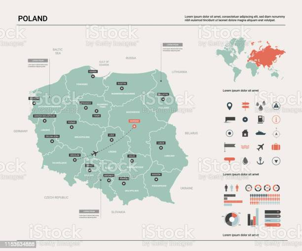 Vector Kaart Van Polen De Kaart Van Het Land Met Afdeling Steden En Kapitaal Warshau Politieke Kaart Wereldkaart Infographic Elements Stockvectorkunst en meer beelden van Beroemde plaats