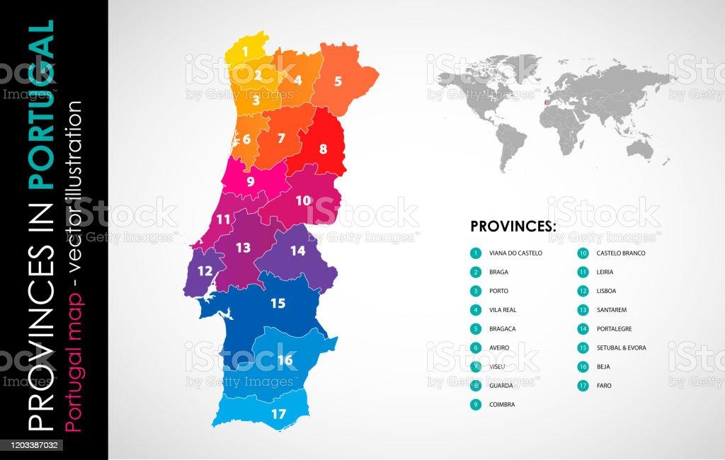 Vector map of Portugal and provinces COLOR - Royalty-free Cartografia arte vetorial