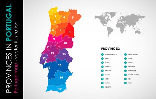 Vector Map Of Portugal And Provinces Color - Arte vetorial de stock e mais imagens de Cartografia