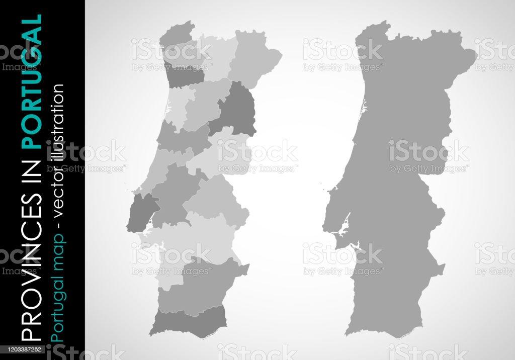 Vector map of Portugal and provinces GRAY - Royalty-free Cartografia arte vetorial