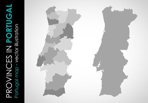 Vector Map Of Portugal And Provinces Gray - Arte vetorial de stock e mais imagens de Cartografia