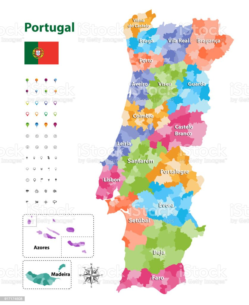 vector map of Portugal districts and autonomous regions, subdivided into municipalities. Each region have own color palette. Flag of Portugal. Navigation, location and travel icons - ilustração de arte vetorial