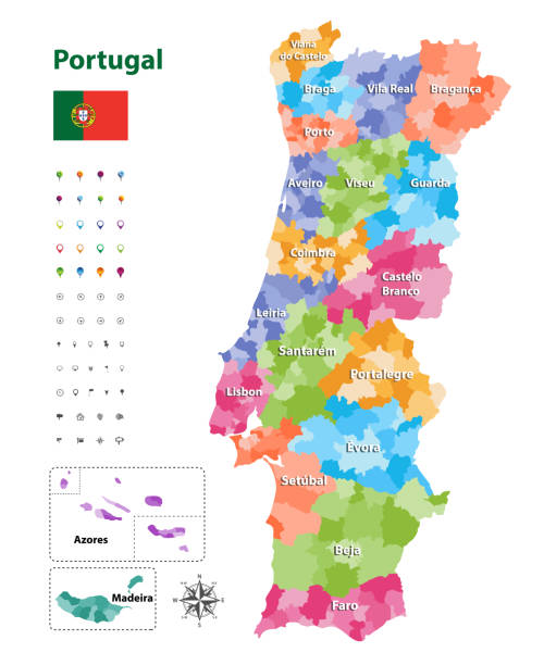 ilustrações de stock, clip art, desenhos animados e ícones de vector map of portugal districts and autonomous regions, subdivided into municipalities. each region have own color palette. flag of portugal. navigation, location and travel icons - ilustrações de portalegre