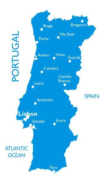 ilustrações de stock, clip art, desenhos animados e ícones de vector map of portugal - vila real