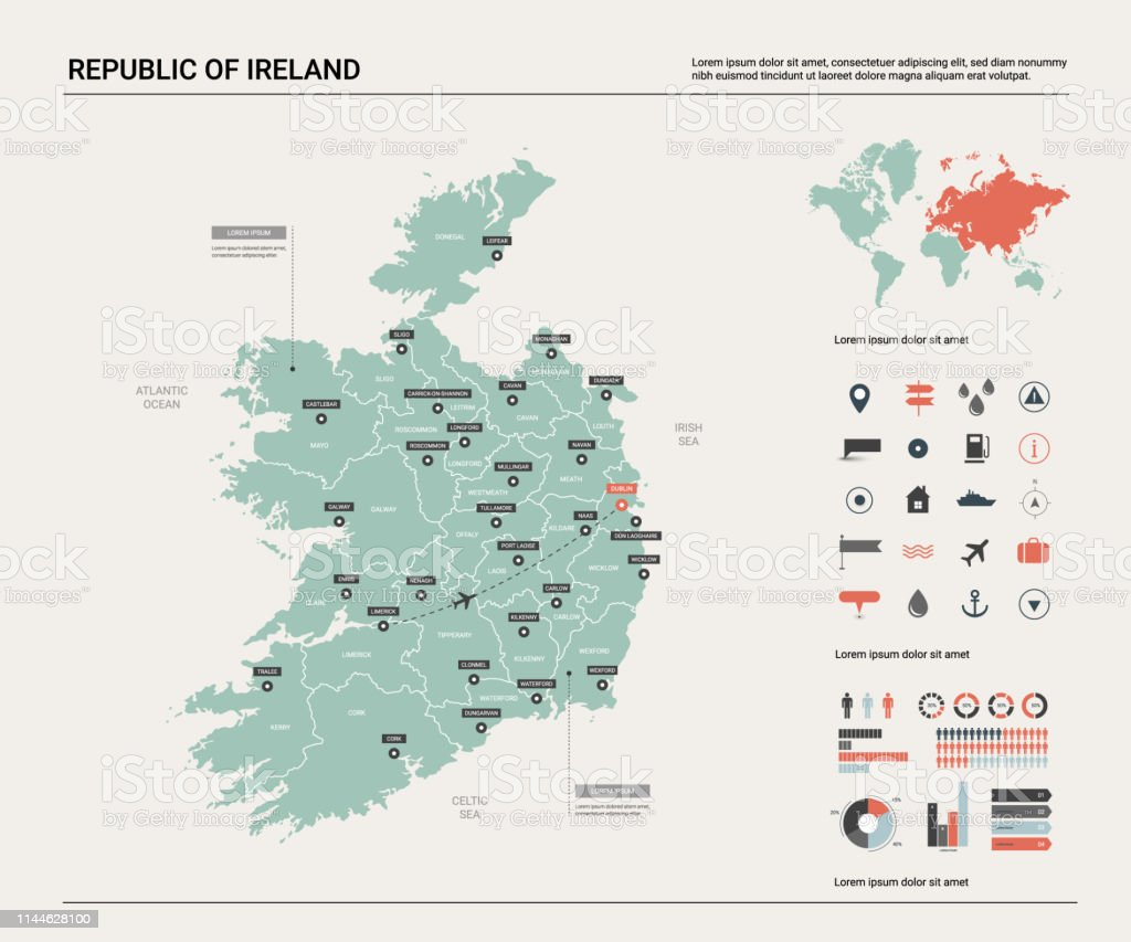 World Map Of Ireland.Vector Map Of Republic Of Ireland High Detailed Country Map With Division Cities And Capital Dublin Political Map World Map Infographic Elements Stock