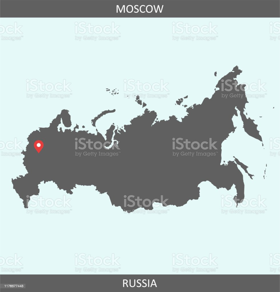 Vector Map Of Russia With Capital City Location Moscow For ...