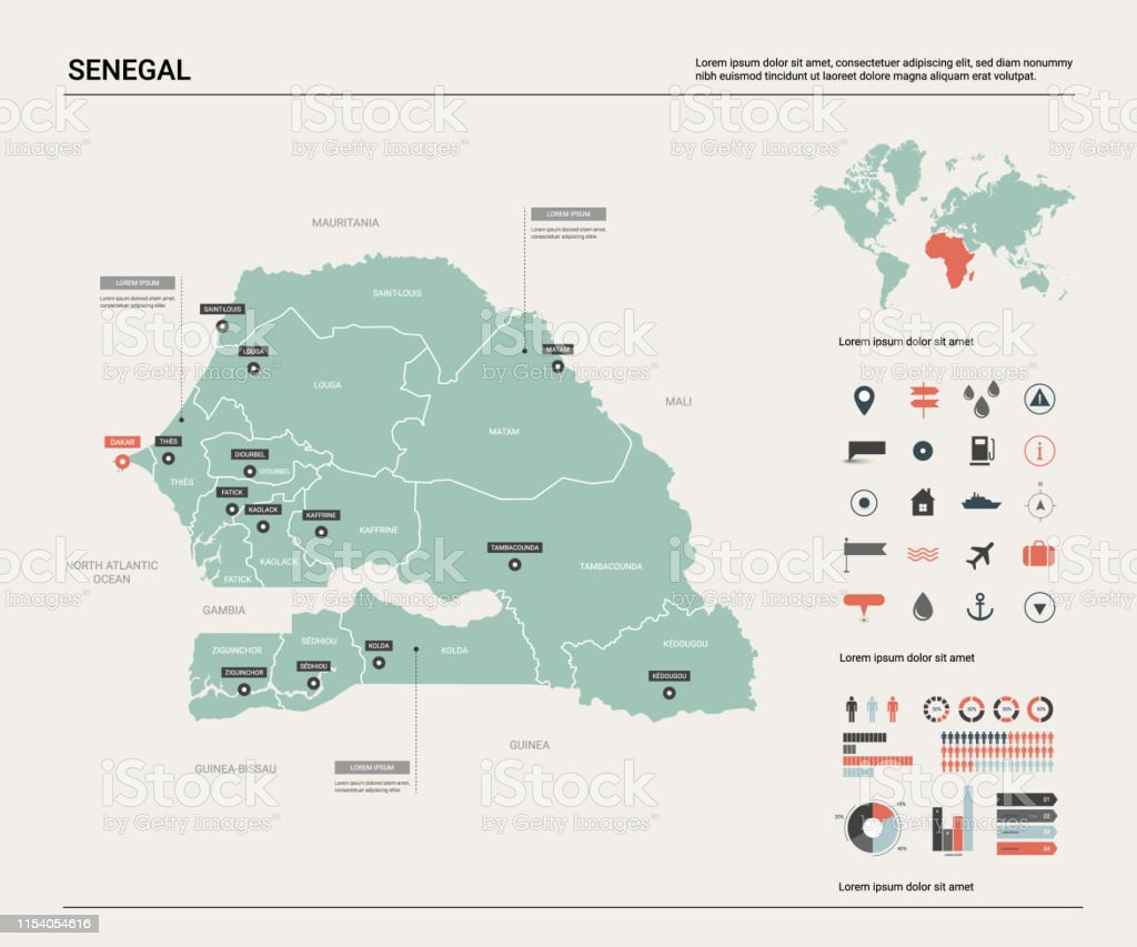 Vector Map Of Senegal Country Map With Division Cities And Capital on