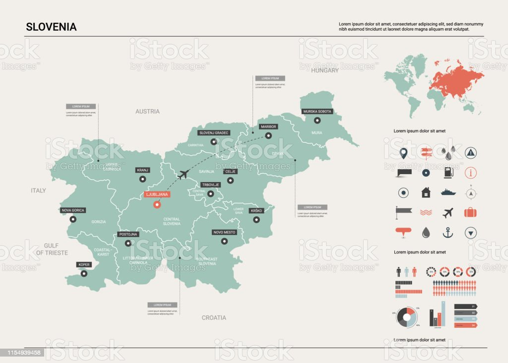 Picture of: Vector Map Of Slovenia Country Map With Division Cities And Capital Ljubljana Political Map World Map Infographic Elements Stock Illustration Download Image Now Istock