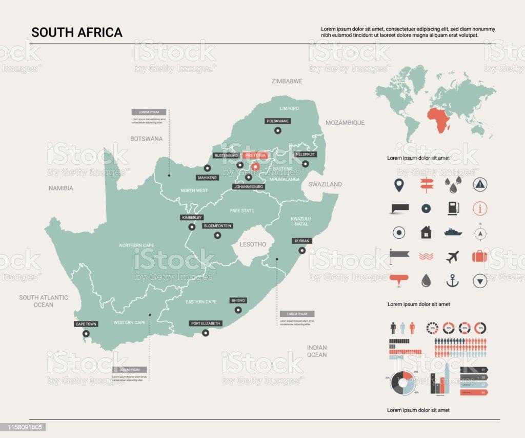 Carte De Lafrique Du Sud Avec Les Capitales.Carte Vectorielle De Lafrique Du Sud Carte De Pays Avec