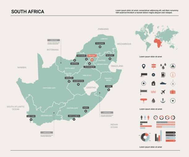 bildbanksillustrationer, clip art samt tecknat material och ikoner med vektor karta över sydafrika (rsa). landet kartlägger med uppdelning, städer och huvudstad pretoria. politisk karta, världs karta, infographic element. - south africa