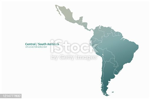 istock vector map of South American countries. Latin america map. 1214777832