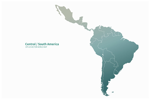 vector map of South American countries. Latin america map.