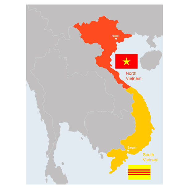 vector map of South and North Vietnam vector map of South and North Vietnam for your design viet cong stock illustrations