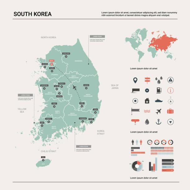 stockillustraties, clipart, cartoons en iconen met vector kaart van zuid-korea. hoge gedetailleerde landkaart met afdeling, steden en kapitaal seoel. politieke kaart, wereldkaart, infographic elements. - korea