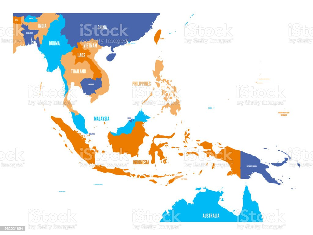 Vector Map Of Southeast Asia Stock Vector Art & More Images of ...