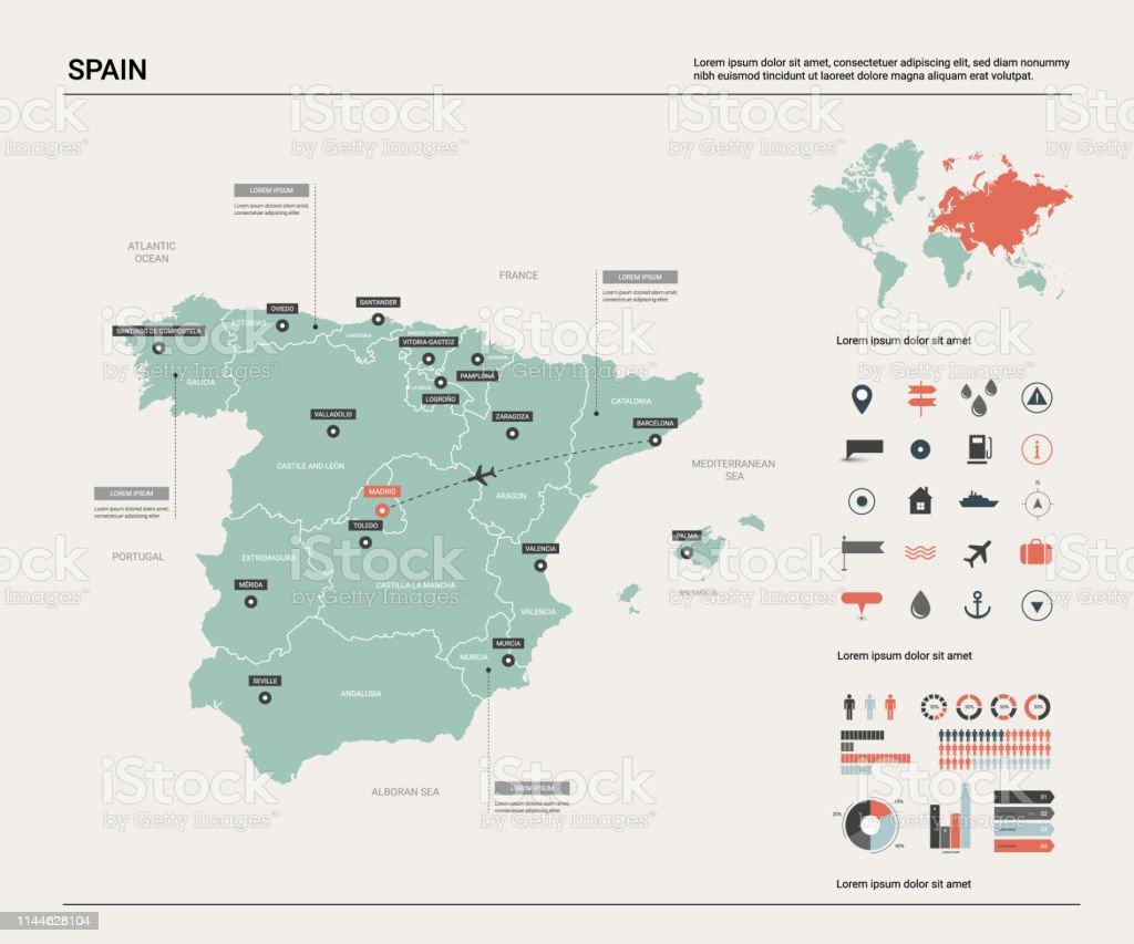 Madrid Capital De España Mapa.Ilustracion De Mapa Vectorial De Espana Alto Mapa Detallado
