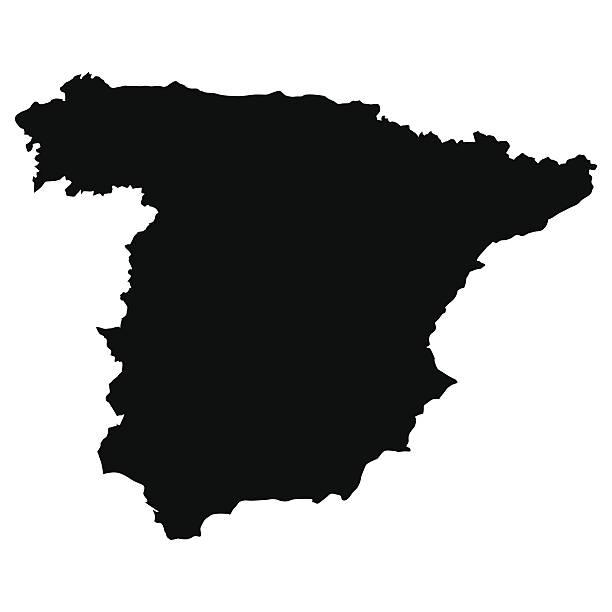 vektor karte von spanien - spanien stock-grafiken, -clipart, -cartoons und -symbole