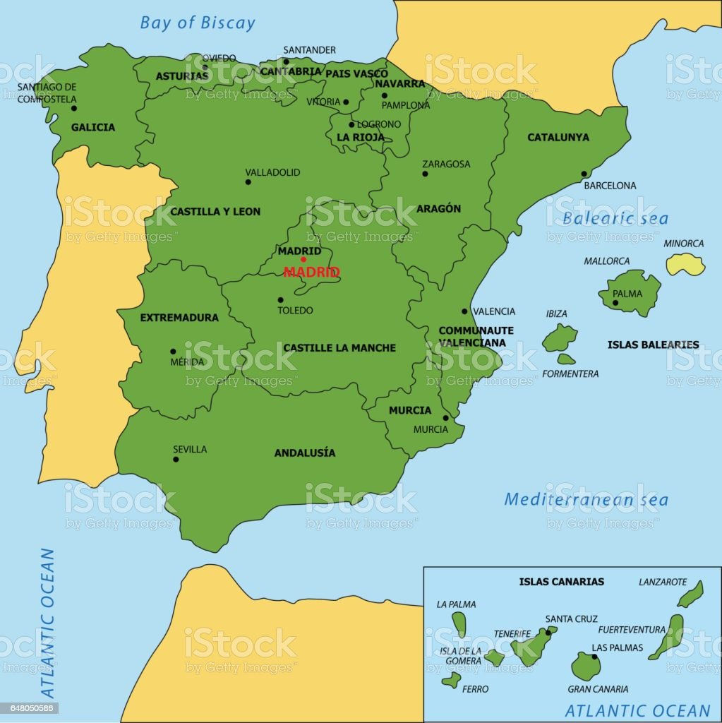 Map Of Spain Showing Regions.Vector Map Of Spain With Regions And Their Capitals Stock Vector Art