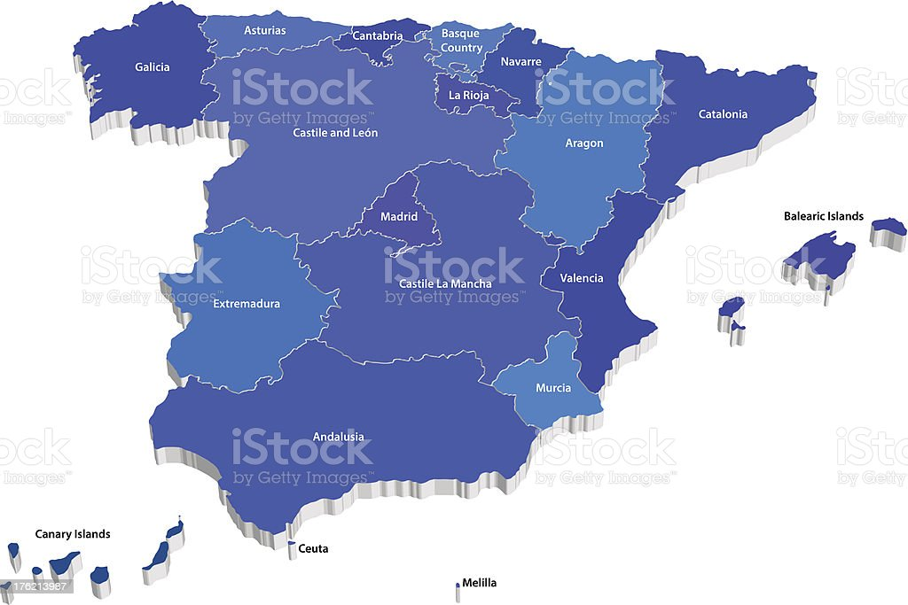 Vector map of Spain with regions royalty-free stock vector art