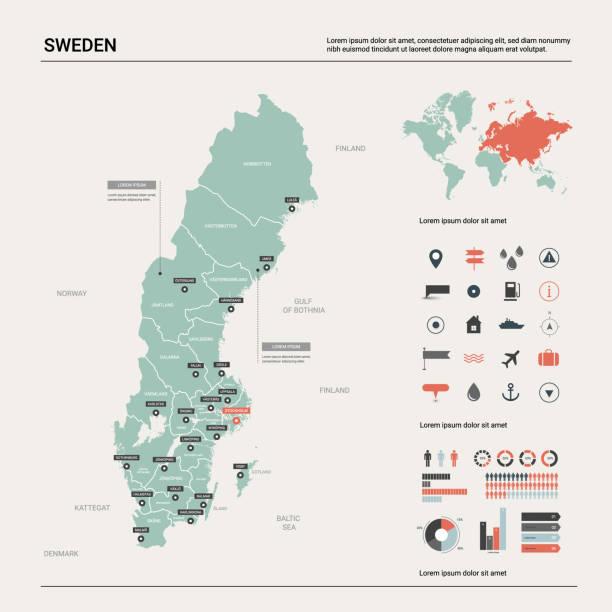 bildbanksillustrationer, clip art samt tecknat material och ikoner med vektor karta över sverige. land karta med division, stad och huvudstad stockholm. politisk karta, världs karta, infographic element. - sweden map