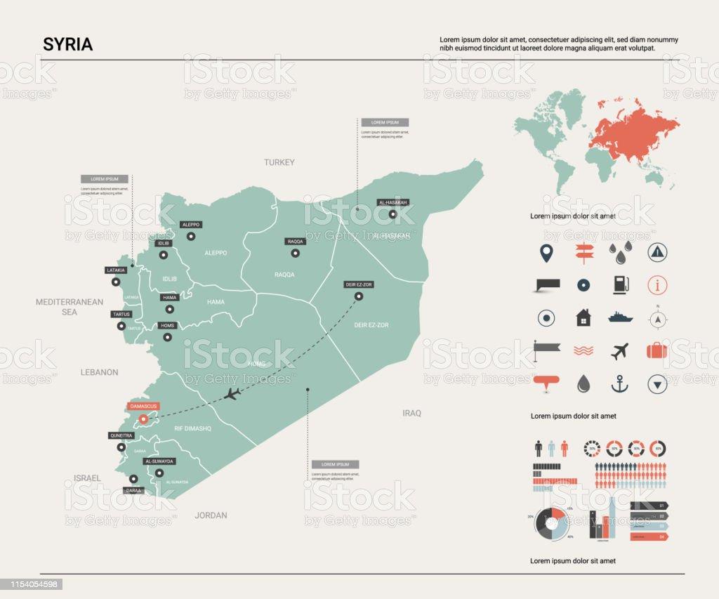 Syrien Karte.Vector Karte Von Syrien Landkarte Mit Teilung Städten Und Hauptstadt