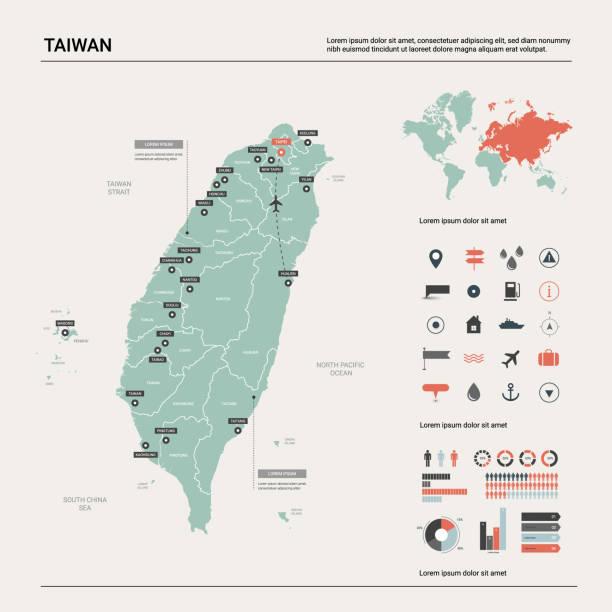vector karte von taiwan. hochdetaillierte landkarte mit teilung, städten und hauptstadt taipeh. politische landkarte, weltkarte, infographische elemente. - insel taiwan stock-grafiken, -clipart, -cartoons und -symbole