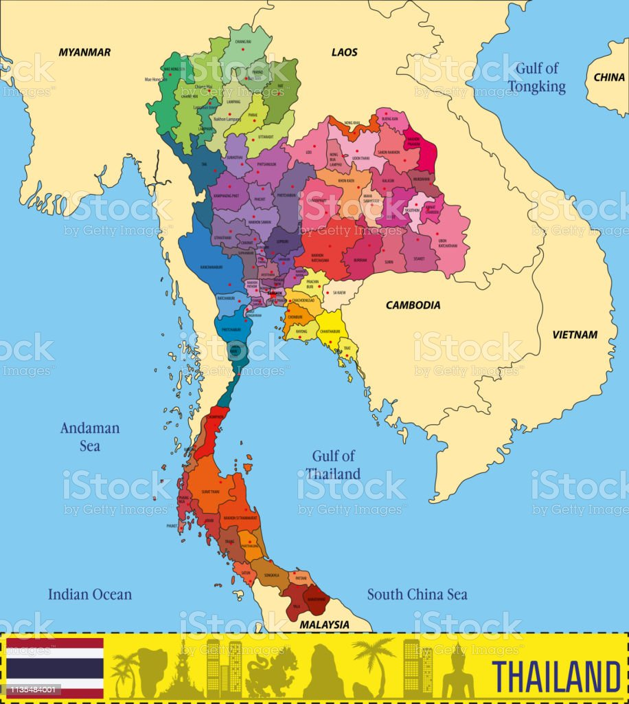 Vector Map Of Thailand Stock Vector Art & More Images of Asia - iStock