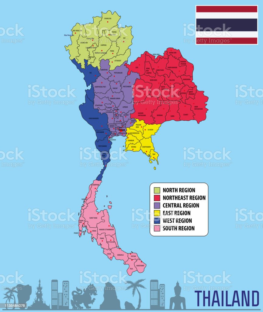 Vector Map Of Thailand Stock Illustration - Download Image ...