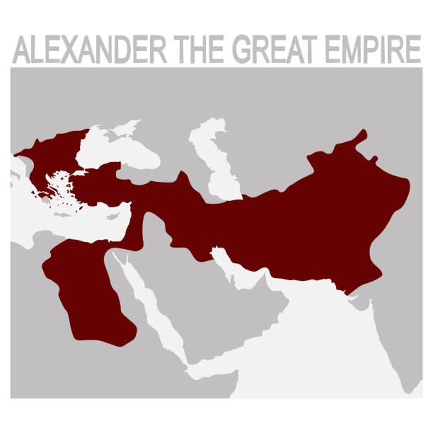 vektorkarte von alexander das große reich - pompeii stock-grafiken, -clipart, -cartoons und -symbole