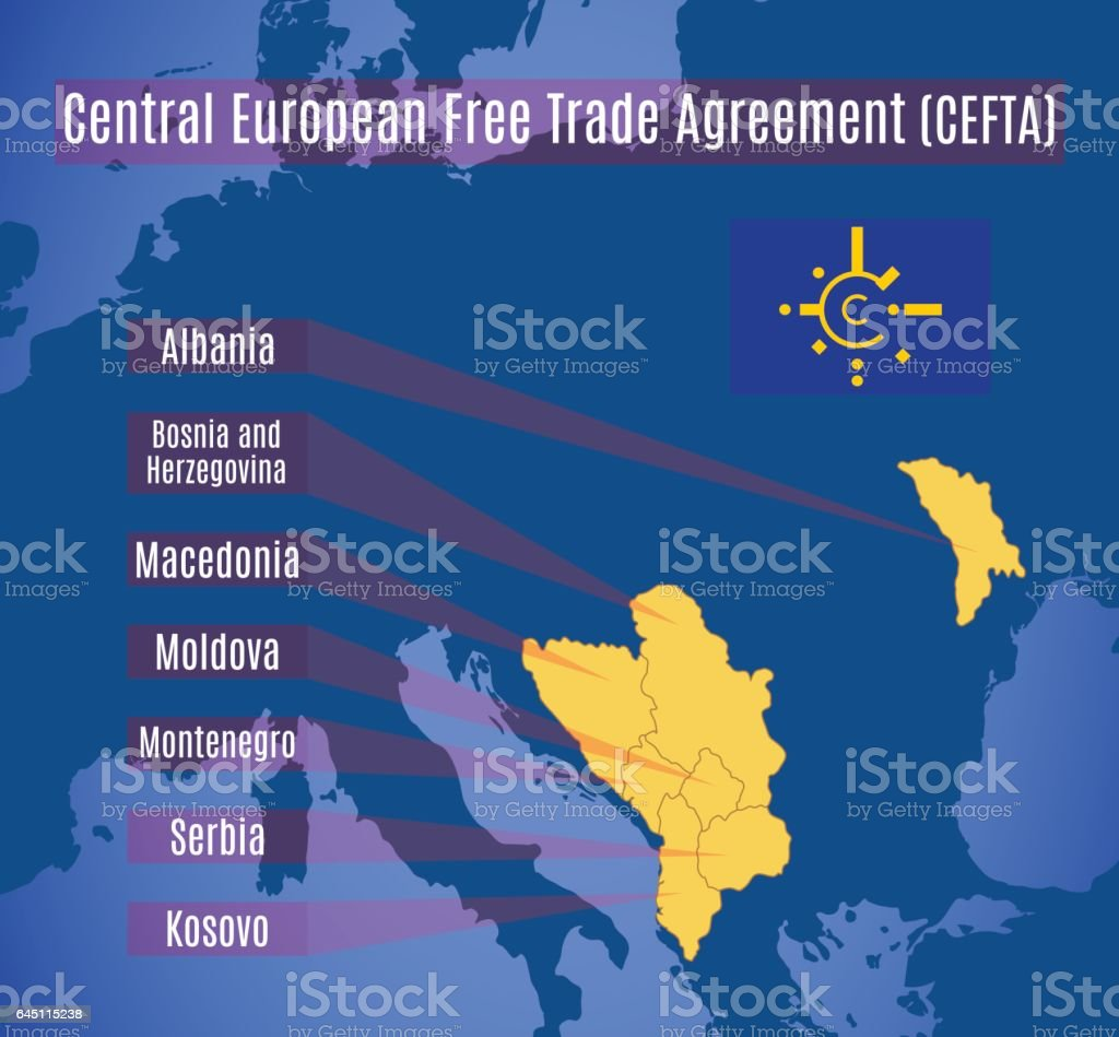 Vector map of the central european free trade agreement stock vector vector map of the central european free trade agreement cefta royalty free vector platinumwayz
