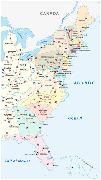 Vector map of the East Coast, United States Vector map of the East Coast, United States eastern usa stock illustrations