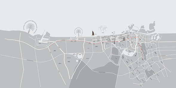 Vector Map of the Emirate of Dubai with names of streets and landmarks.