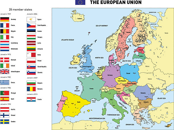 Vector map of The European Union Vector highly detailed political map of The European Union with flags and capitals. All elements are separated in editable layers clearly labeled. country geographic area stock illustrations