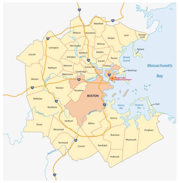 stockillustraties, clipart, cartoons en iconen met kaart van de vector van de grootstedelijke regio van greater boston, massachusetts, verenigde staten - massachusetts