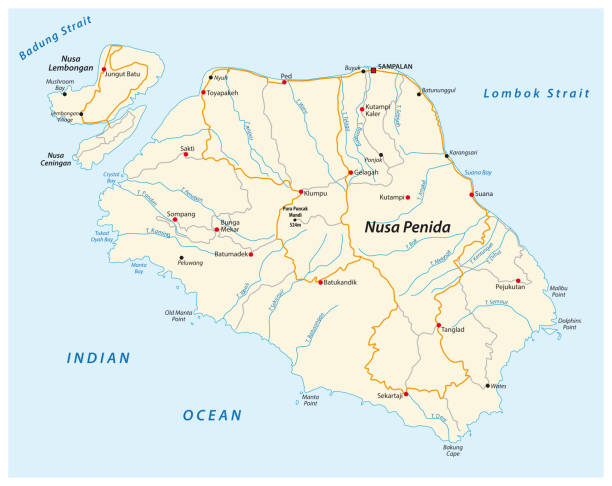 Vector map of the Indonesian island of Nusa Penida located east of Bali Vector map of the Indonesian island of Nusa Penida located east of Bali lagbok stock illustrations