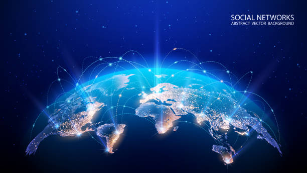 wektor. mapa planety. mapa świata. globalna sieć społecznościowa. przyszłości. niebieskie futurystyczne tło z planetą ziemią. internet i technologia. pływające niebieskie tło geometryczne splotu. - globalny stock illustrations