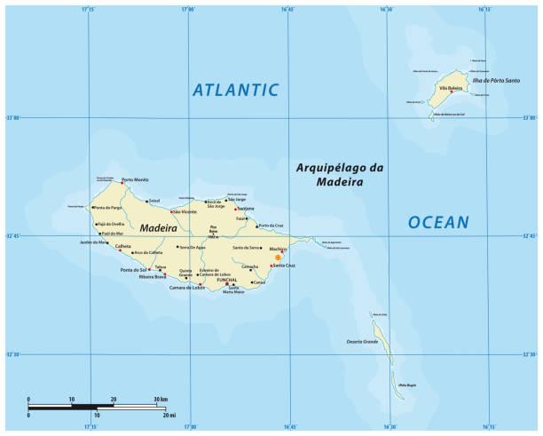 ilustrações de stock, clip art, desenhos animados e ícones de vector map of the portuguese archipelago madeira in the atlantic ocean, portugal - funchal madeira