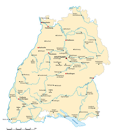 Vector map of the state of Baden wuerttemberg with major cities, Germany