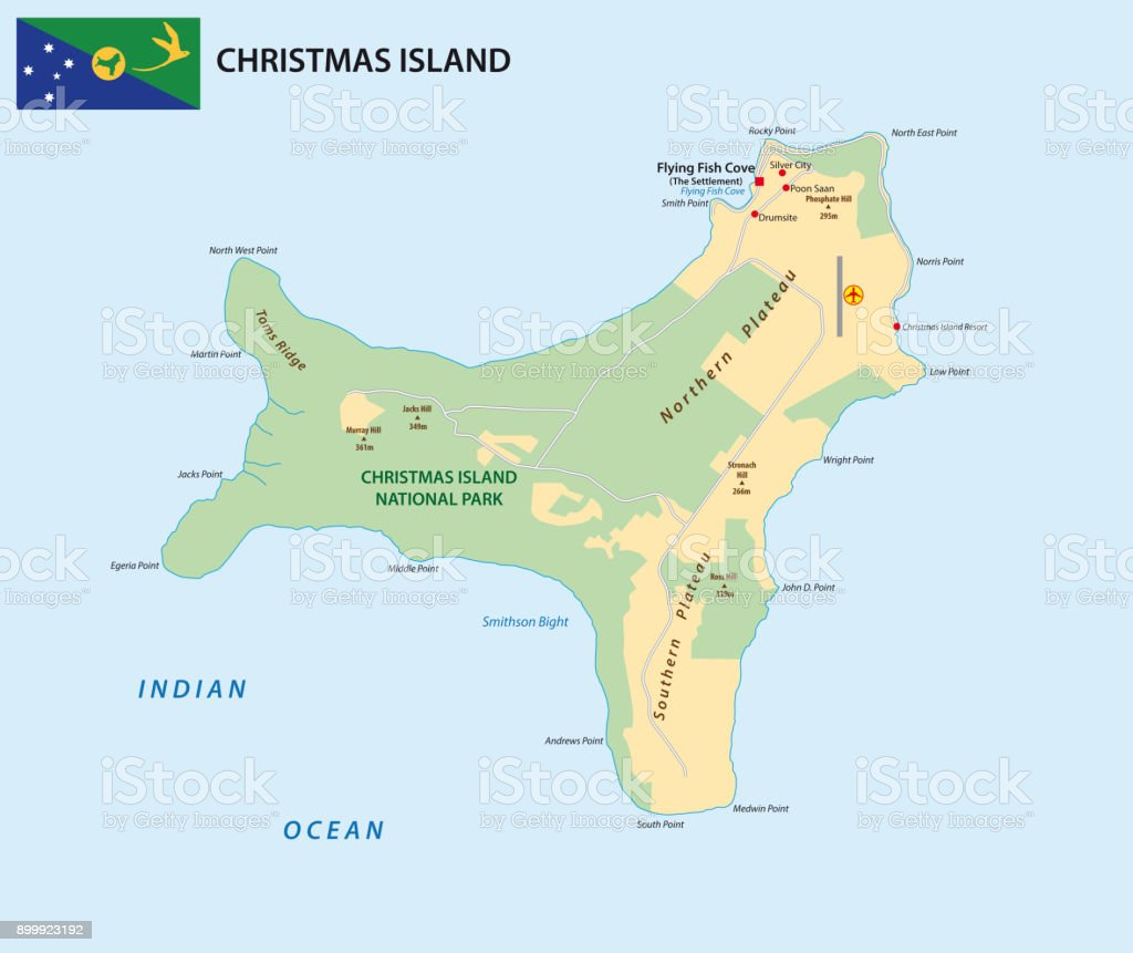 vector map of the territory of christmas island with flag royalty free vector map of