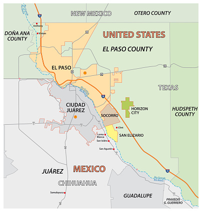 Vector map of the Texan El Paso County, United States