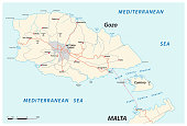 vector road map of the two maltese islands Gozo and Comino, Malta