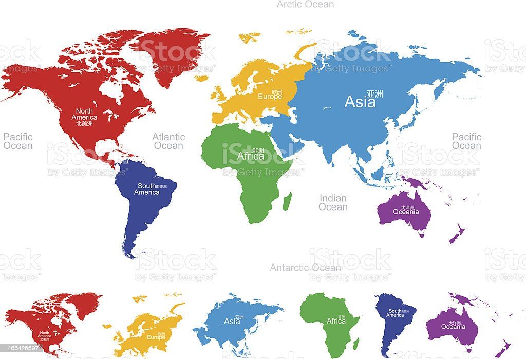 Vector map of the world: America,Europe,Asia,Oceania,Africa vector art illustration
