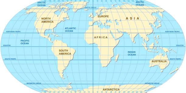 Vector map of the world. Oceans and continents on a flat projection. Vector map of the world. Oceans and continents on a flat projection. The globe on the plane. Vector illustration equator stock illustrations