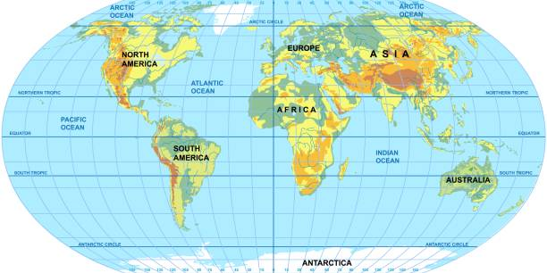 Best World Map With Equator Pictures Illustrations, Royalty ...