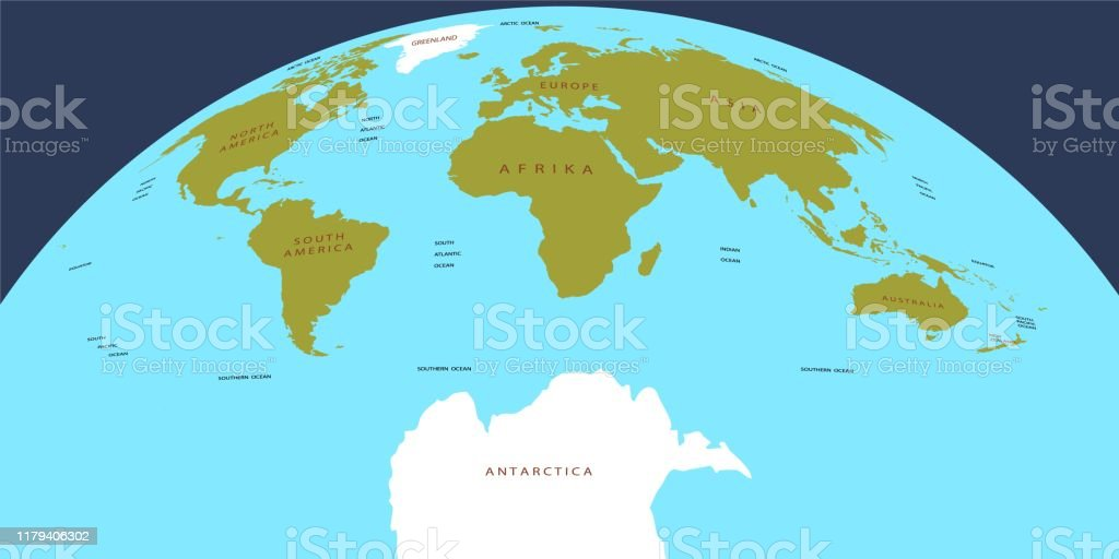 Vector Map Of The World Oceans And Continents On A Flat Projection Stock Illustration Download Image Now Istock