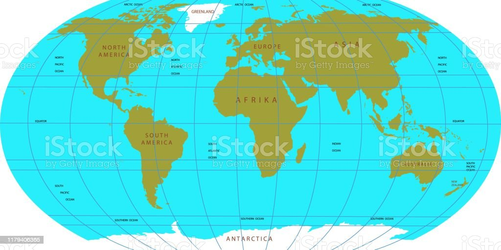 Vector Map Of The World Oceans And Continents On A Flat ...