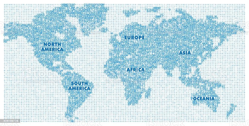 Ilustracin de mapa vectorial del mundo con el alfabeto ingls mapa vectorial del mundo con el alfabeto ingls amrica europa asia oceana gumiabroncs Choice Image